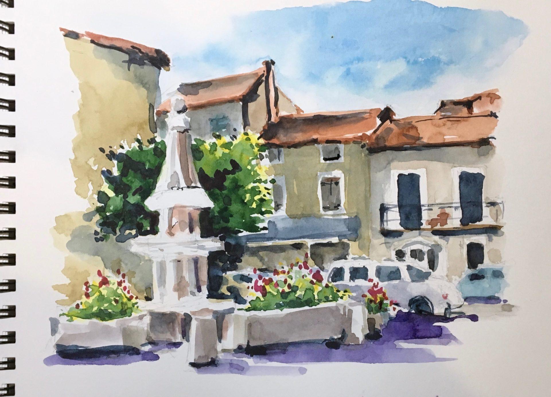 French Village Watercolour Sketch |